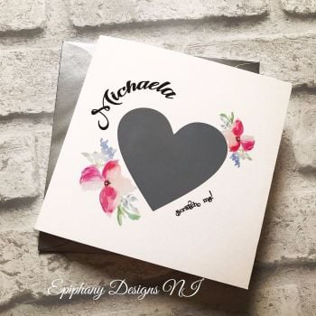 Will you be my Bridesmaid, Maid of Honour, Flower Girl Scratch Card -  Grey Heart