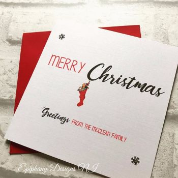 Personalised Merry Christmas Card stocking typography design