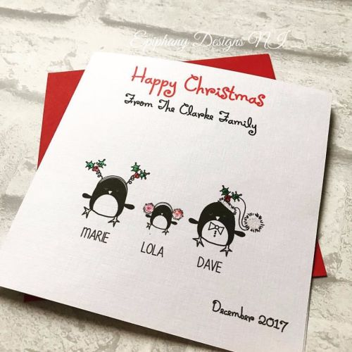 Personalised Merry Christmas Card Penguin Family
