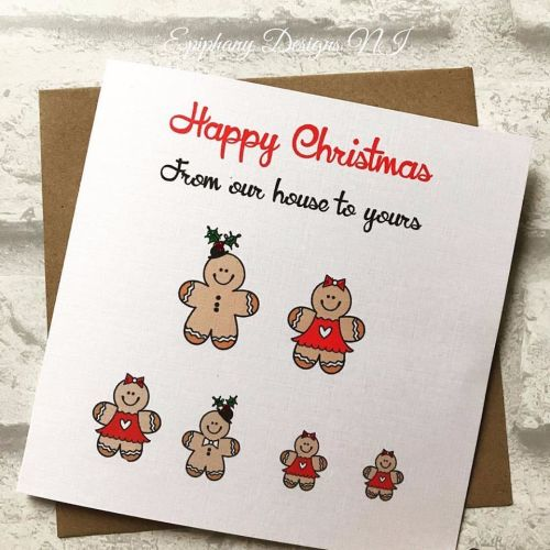 Personalised Merry Christmas Card Gingerbread Family
