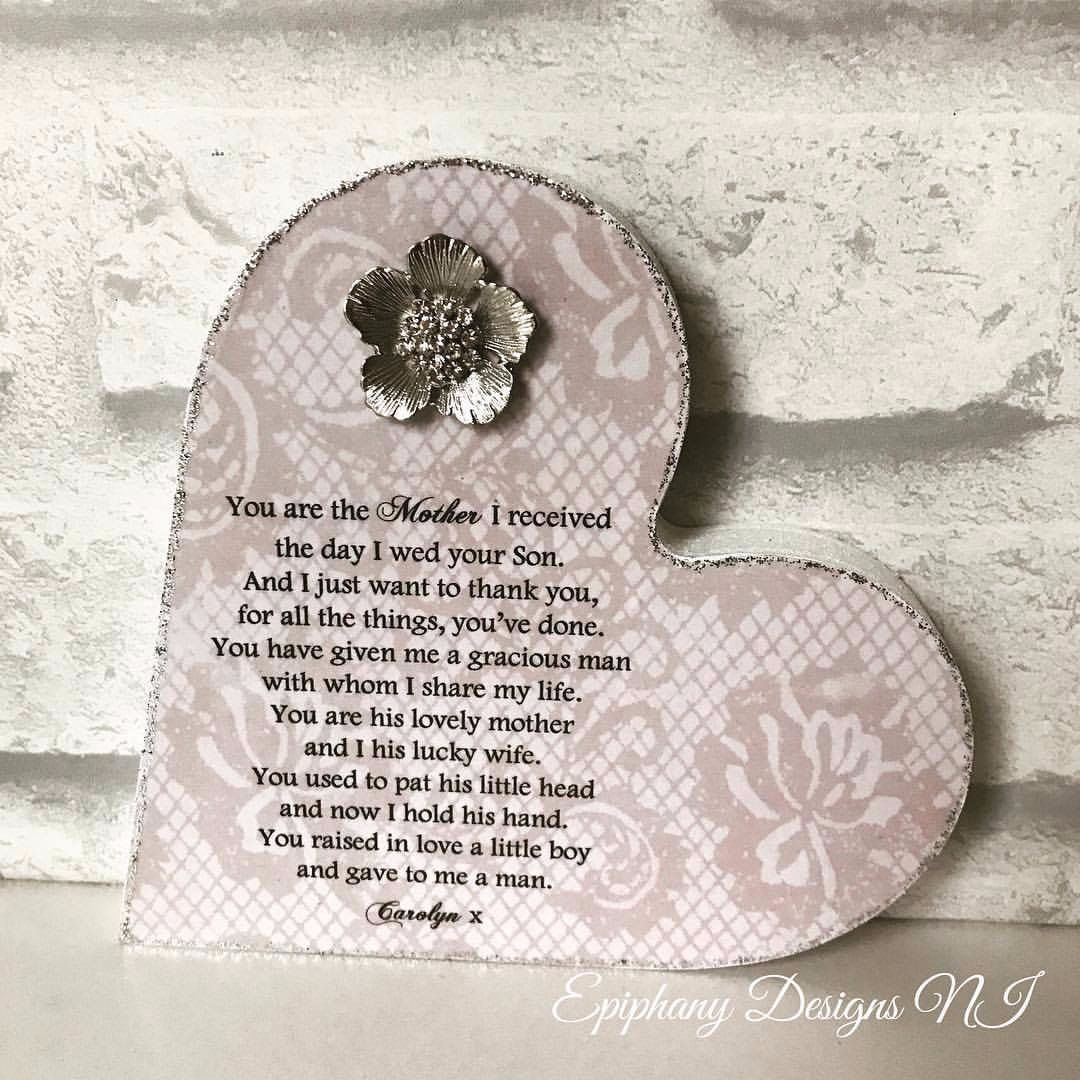 Personalised Mother of the Groom Freestanding Heart with poem and brooch em