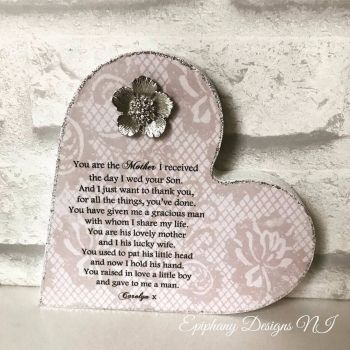 Mother of the Groom Freestanding Heart with poem and brooch embellishment