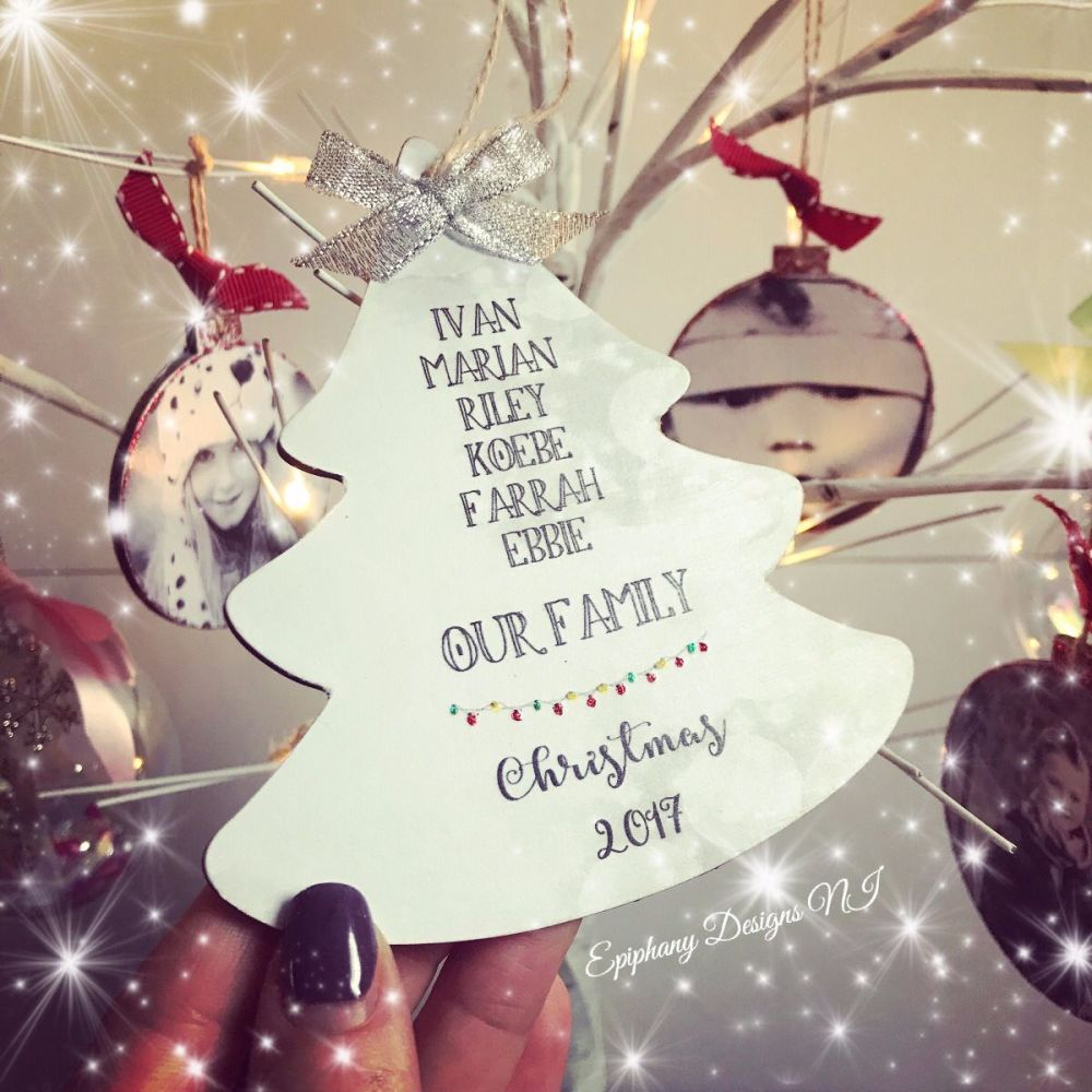 Our Family Christmas Tree Bauble 12cm
