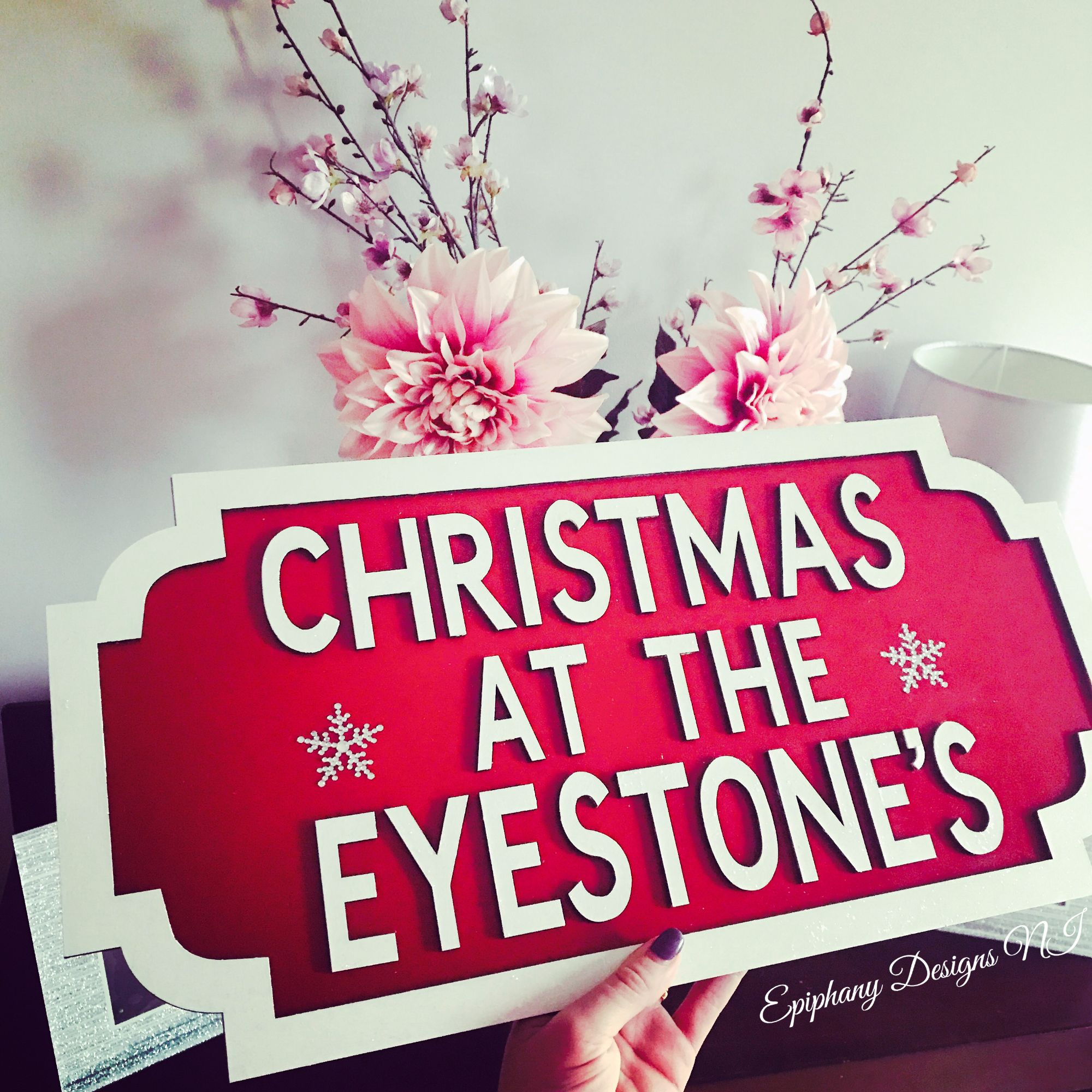 Christmas Street Sign - red/white Wall hanging