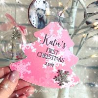 Personalised 1st Christmas Tree Dangly 12cm Pink