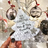 Personalised 1st Christmas Married Tree Decoration 12cm