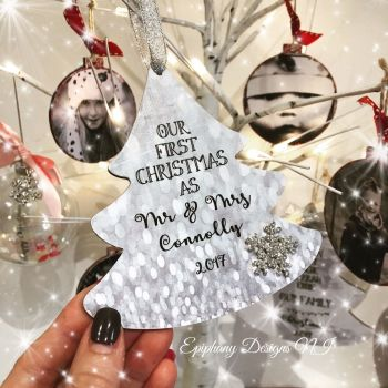 Personalised 1st Christmas Married Tree Dangly 12cm