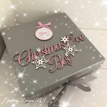 Personalised Silver Christmas Eve Box - vintage font - Pink