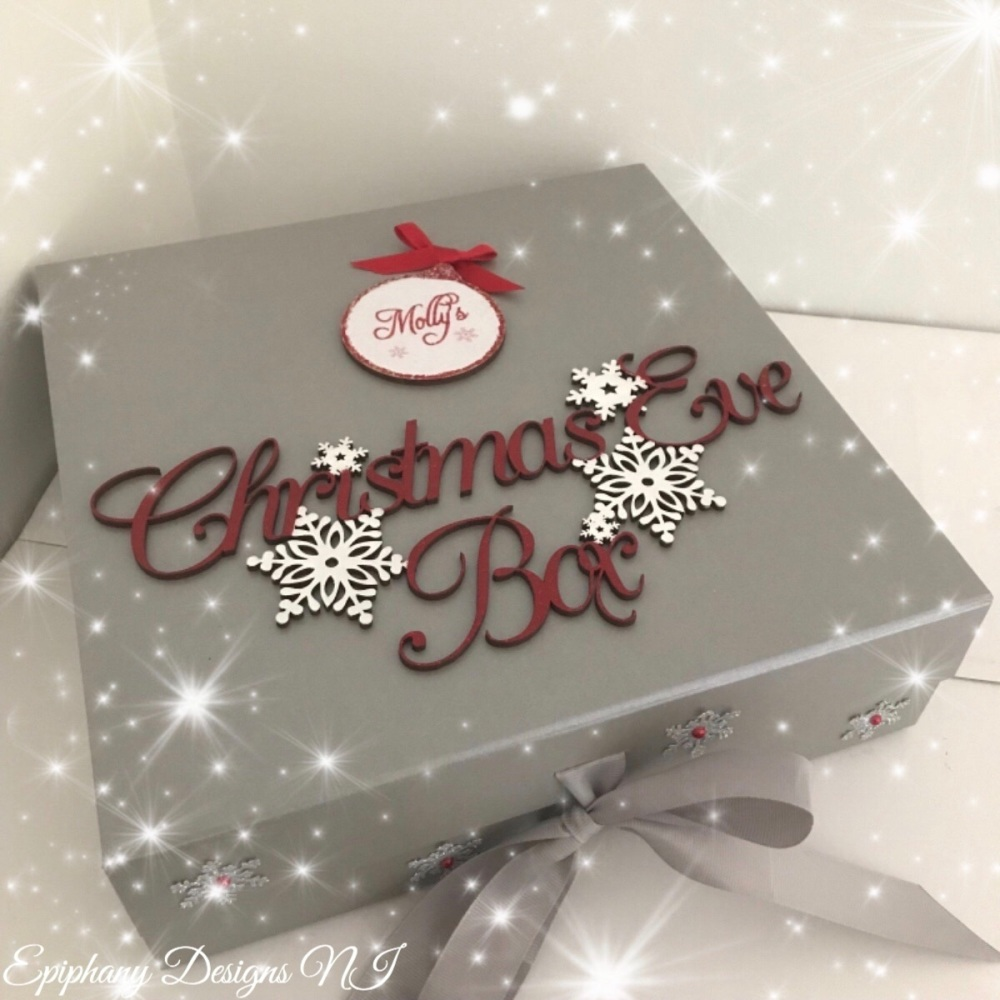 Personalised Silver Christmas Eve Box - vintage font - Red