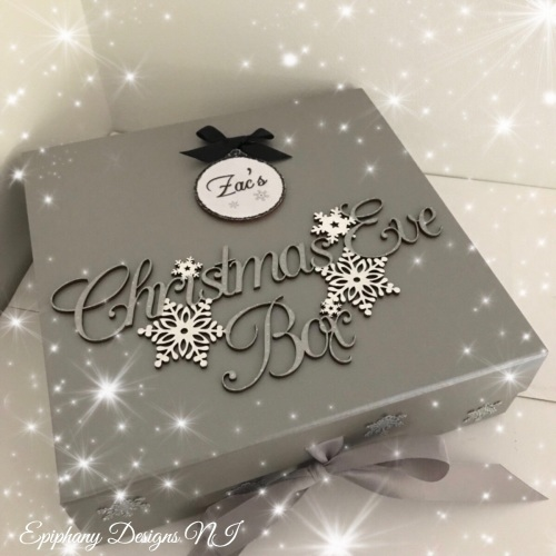 Personalised Silver Christmas Eve Box - vintage font - Black