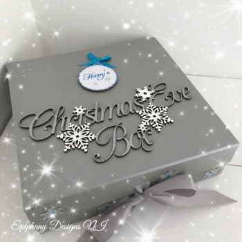 Personalised Silver Christmas Eve Box - vintage font - Blue