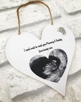 Personalised Hanging Heart with scan photo
