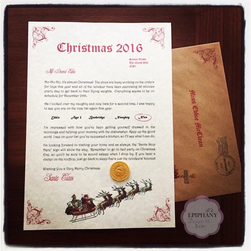 Personalised Letter from Santa with Chocolate coin -Vintage