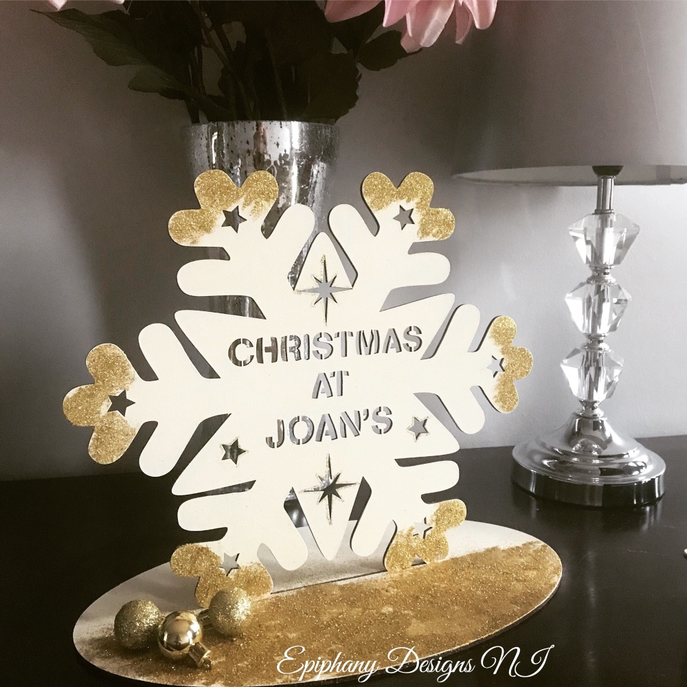 Large cream/gold Snowflake -  Christmas at the ..... freestanding