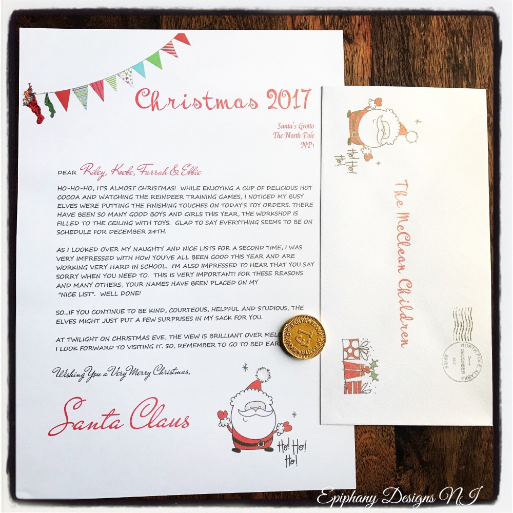 Personalised Letter from Santa with Chocolate coin - jolly santa version