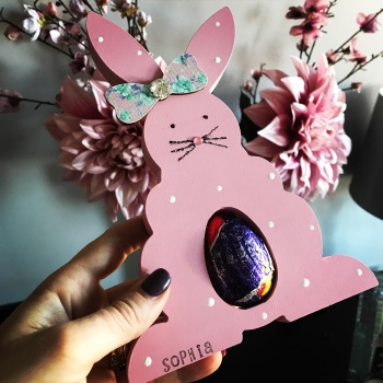 Easter  Bunny Egg Holder Personalised Pink