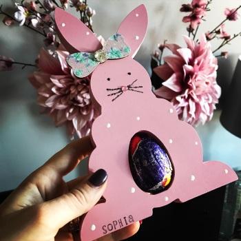 Easter  Bunny Egg Holder Personalised Pink