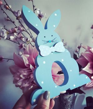 Easter Bunny Egg holder Personalised Blue
