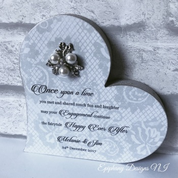 Freestanding Heart with poem and brooch embellishment engagement or wedding
