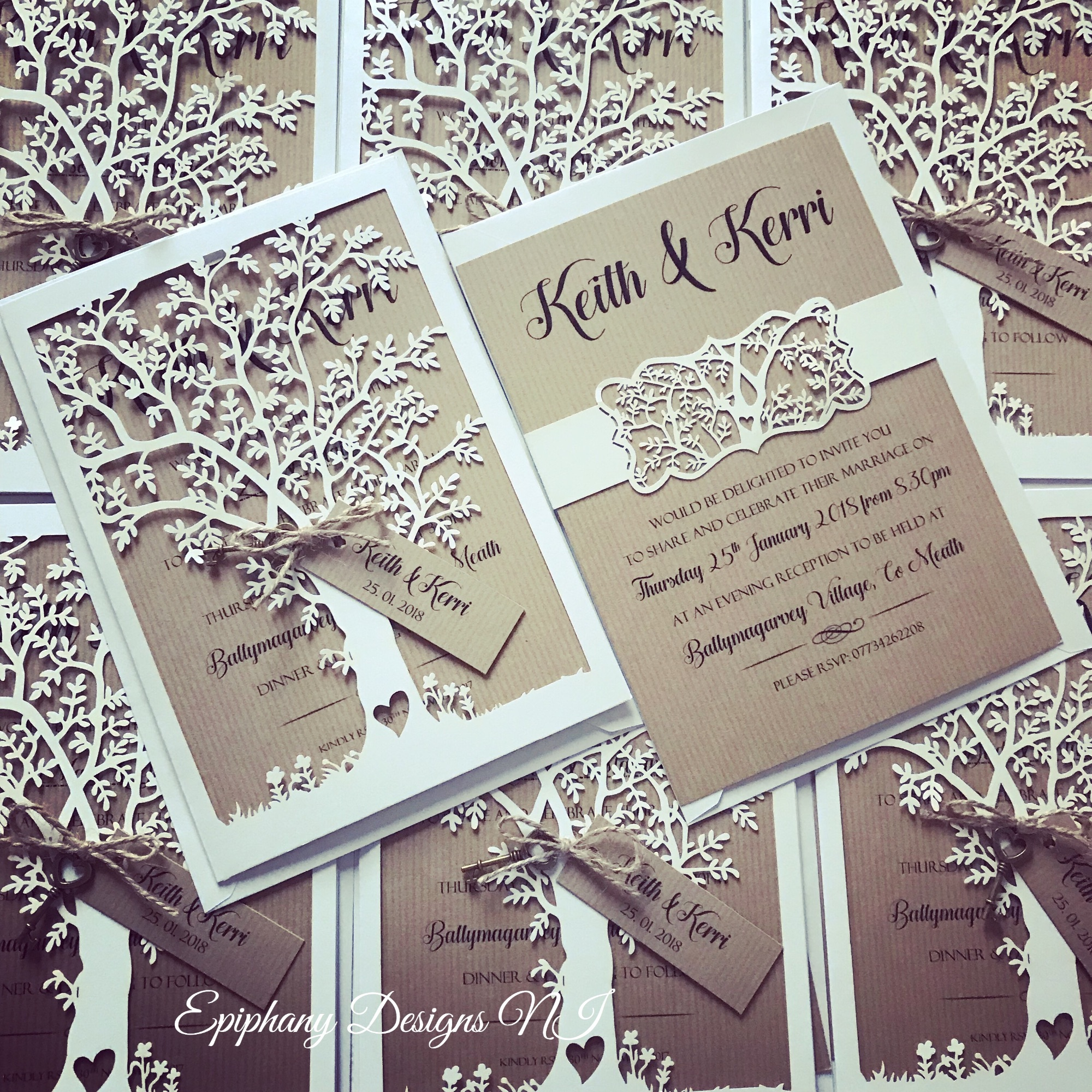 Rustic Lasercut tree wedding invitation with tag and antique heart key