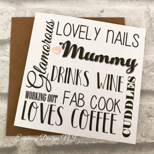 "Mothers Day Card personalised typography - ""mum likes"""