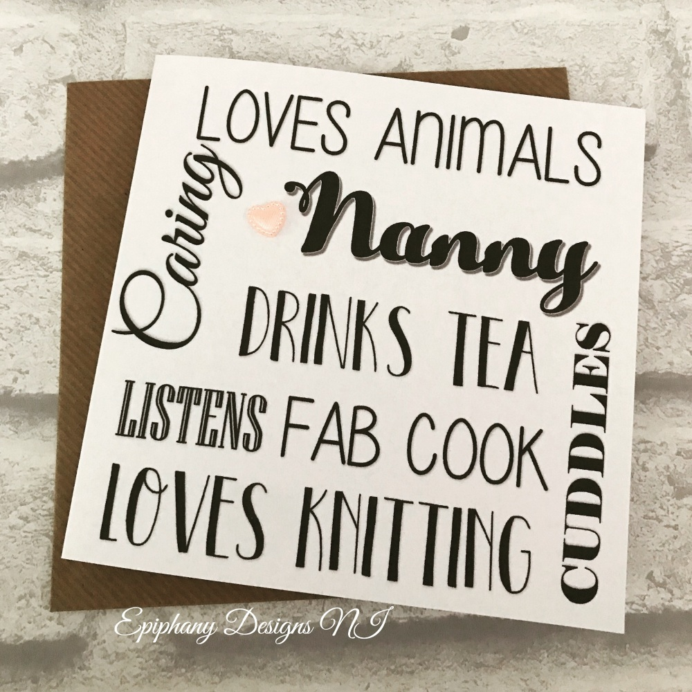 "Mothers Day Card personalised typography - ""Granny/ Nanny likes"""