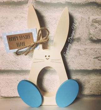 Easter Bunny with wobbly feet egg holder with personalised tag Boys