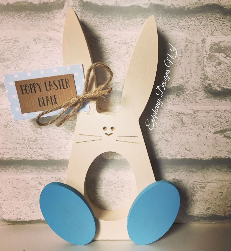 Easter Bunny with wobbly feet holder Personalised Blue