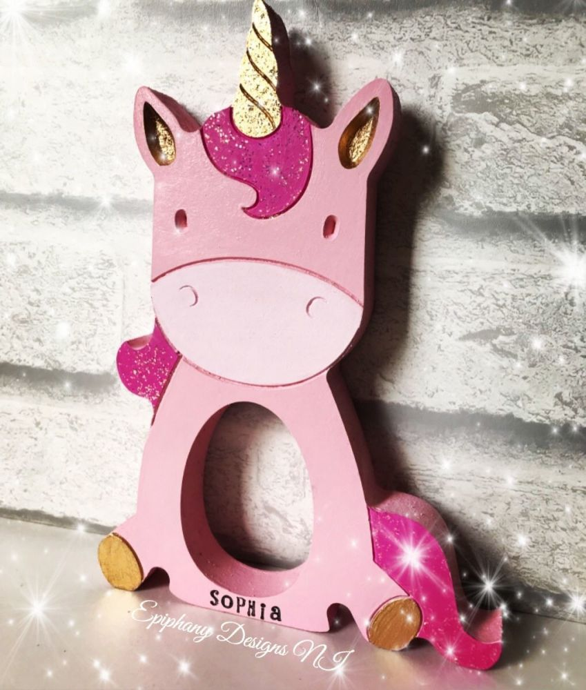 Easter Egg Holder Sitting Sparkly Unicorn Personalised