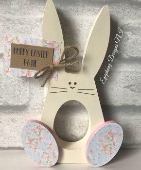 Easter Bunny with wobbly feet egg holder with personalised tag Girls