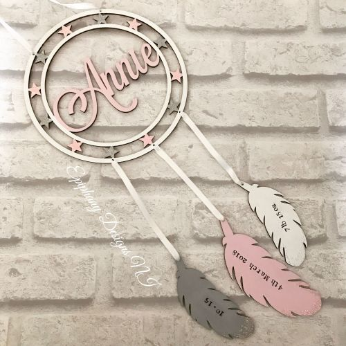 Dream Catcher Personalised with DOB details on Feathers