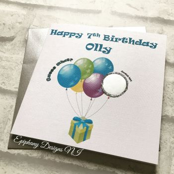 Scratch the Balloons Birthday Card - kids