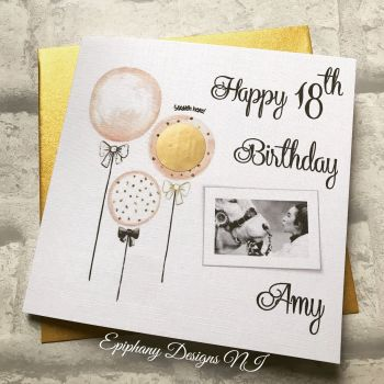 Scratch the Balloons Birthday Card with photo
