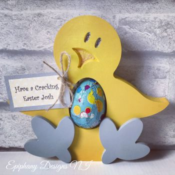 Easter Chick with wobbly feet egg holder with personalised tag