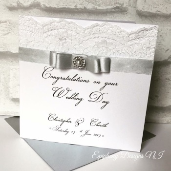 Chic Boutique Range Engagement or Wedding Day Congratulations Card with Lace