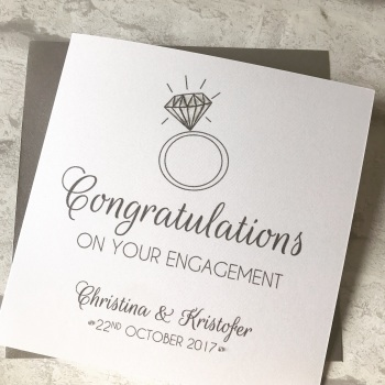 Chic Boutique Range Engagement Congratulations Card - diamond ring
