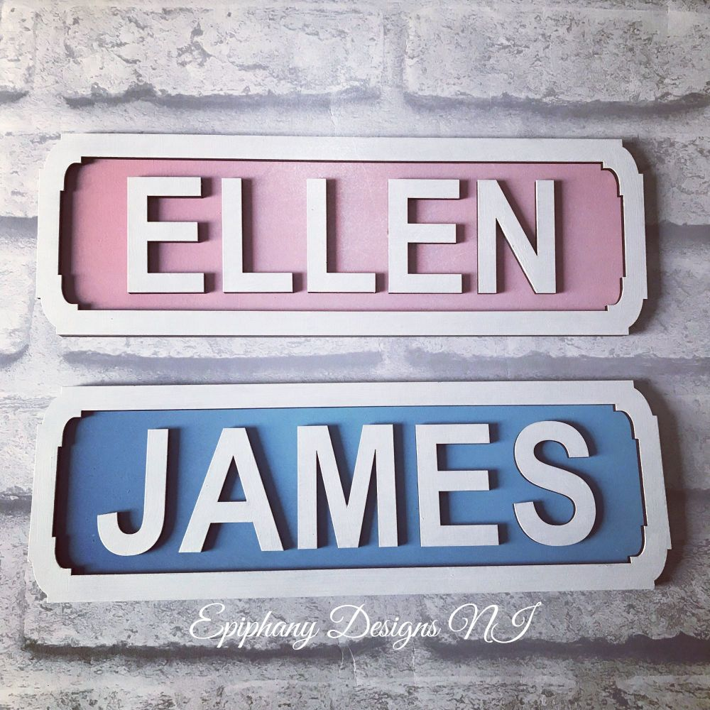 Childrens Bedroom Personalised Wooden Street Sign - Wall hanging 10cm high