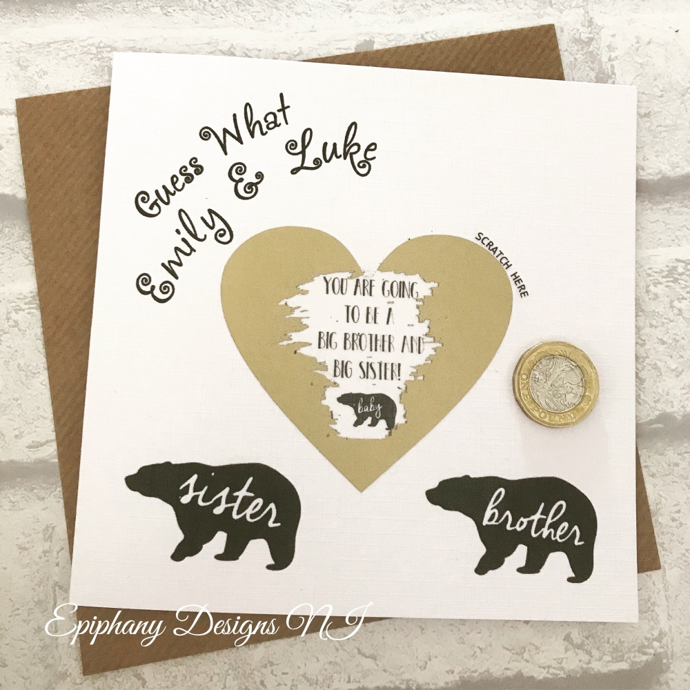 Scratch to Reveal Card - Baby Bear - Going to be a big brother/sister