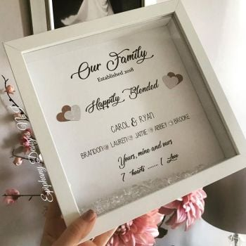 Happily Blended Family - Personalised Box Frame - White