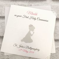 Holy Communion / Confirmation Congratulations Card Personalised Kneeling Silhouette without veil