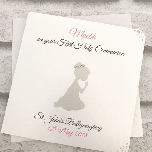 Holy Communion / Confirmation Congratulations Card Personalised Kneeling Si