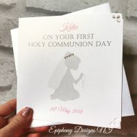 Holy Communion / Confirmation Congratulations Card Personalised Kneeling Silhouette with veil