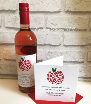 Teacher / Classroom Assistant Thank you Card Dotty Apple and matching wine label