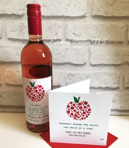 Teacher / Classroom Assistant Thank you Card Dotty Apple and matching wine