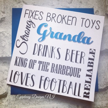 "Fathers Day Card personalised typography - ""Grandad/Papa/Grandpa likes"""