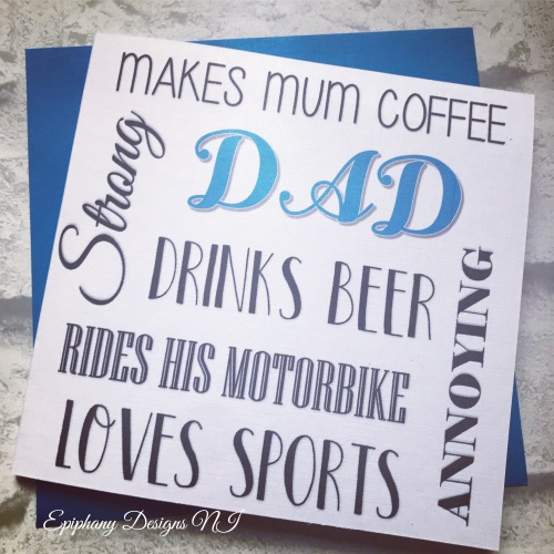 "Fathers Day Card personalised typography - ""Dad/Daddy/Step-dad likes"""