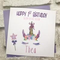 Unicorn Glitter Birthday Card with age wand