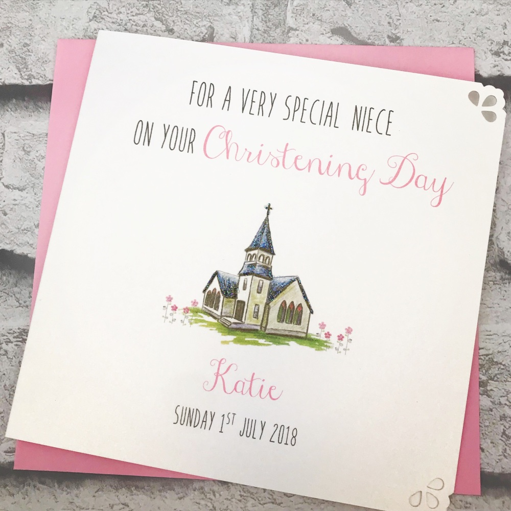 Christening Day Card Personalised - cute church