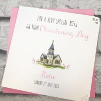 Christening Day Card Personalised - cute church - girls version