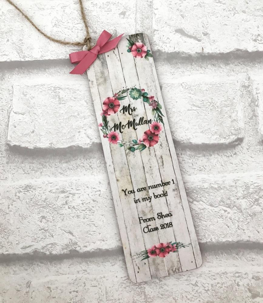 Bookmark - personalised - rustic berry